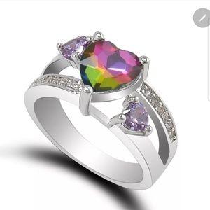 Rainbow and white topaz amethyst gemstone ring